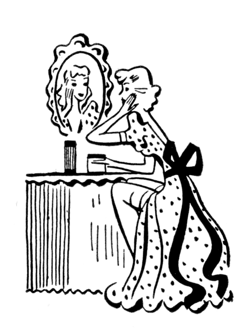 Ladies a day of. Beauty clipart retro