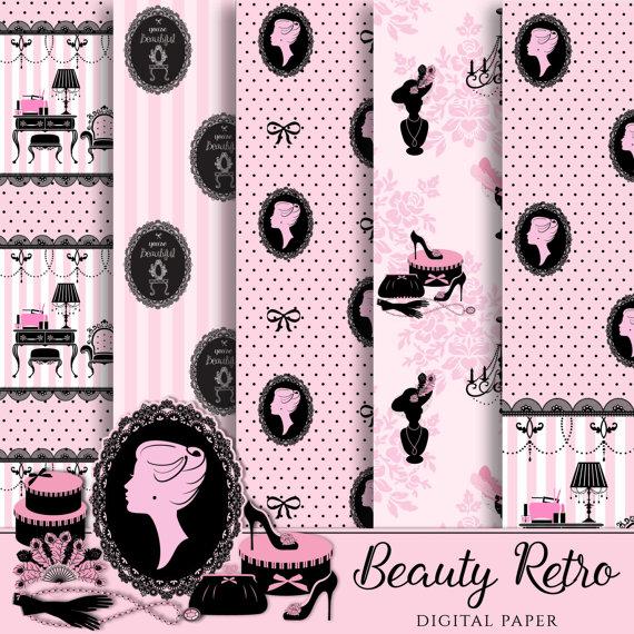 Digital paper lady vintage. Beauty clipart retro