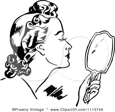 Beauty clipart retro.  black and white