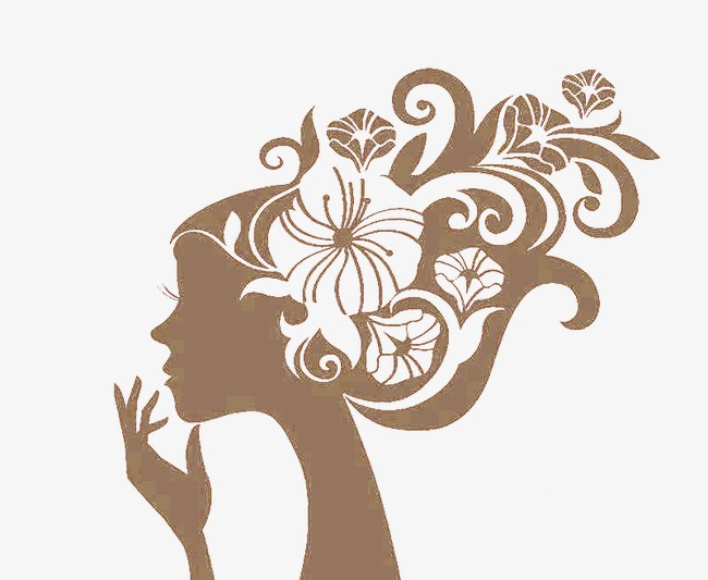 Beautiful picture long hair. Beauty clipart silhouette