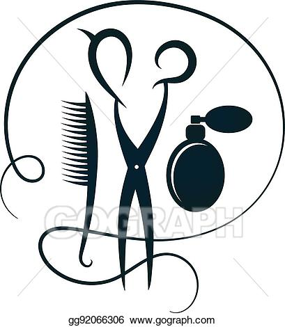 Beauty clipart silhouette. Eps vector scissors and