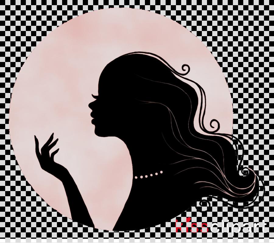 Beauty clipart silhouette. Hair cartoon illustration