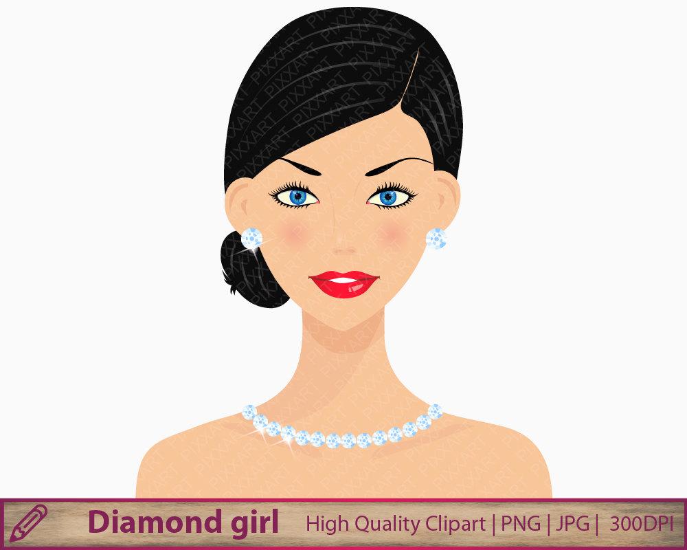Beauty clipart skin. Diamonds girl woman fashion