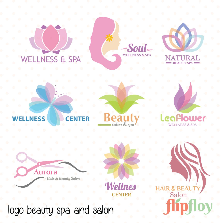 Logo and salon woman. Beauty clipart spa