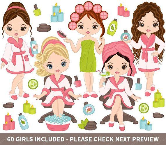 girls vector girl. Beauty clipart spa