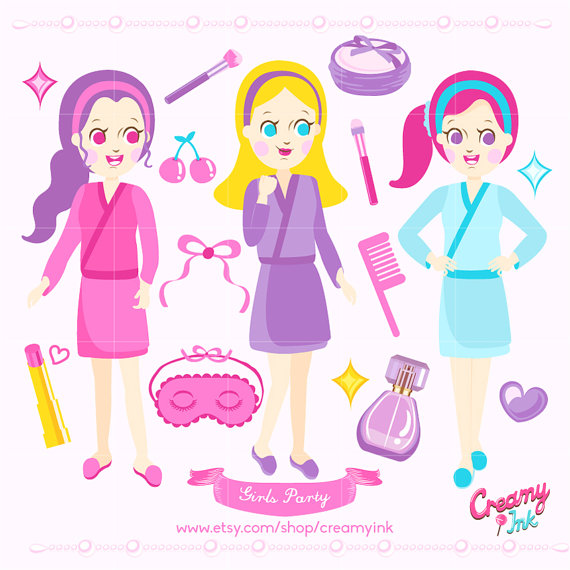 Beauty clipart spa. Girls party digital vector