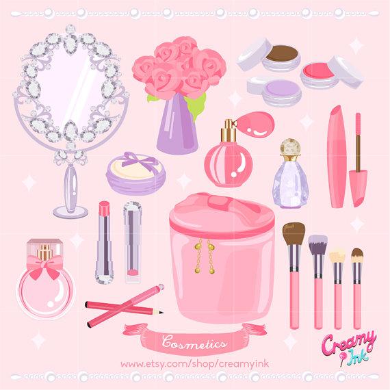 Cosmetic digital vector clip. Beauty clipart spa