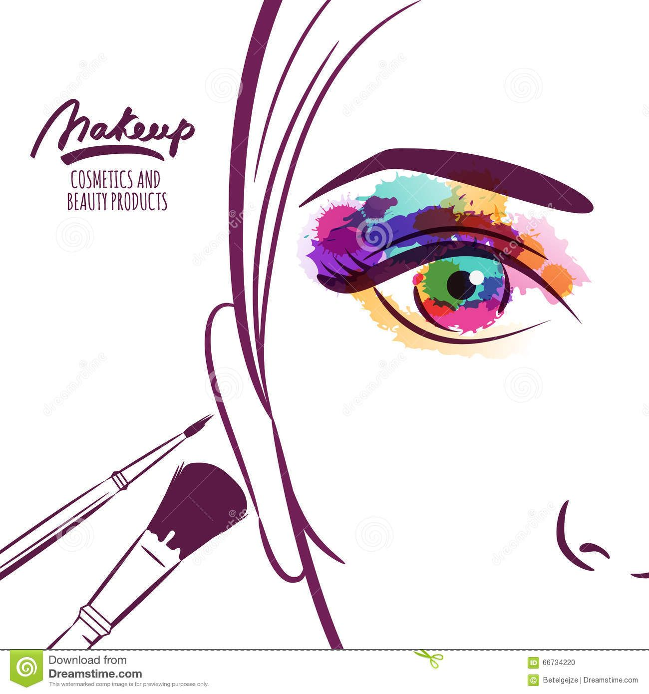 Vector illustration of young. Beauty clipart tool
