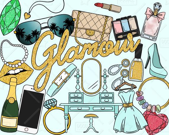 Beauty clipart vector. Glamour pack glam room
