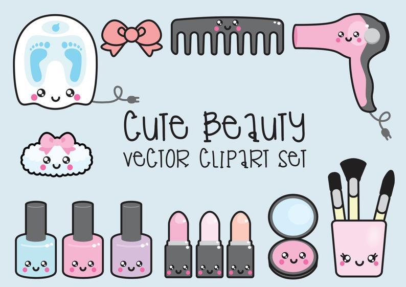 Premium kawaii clip art. Beauty clipart vector