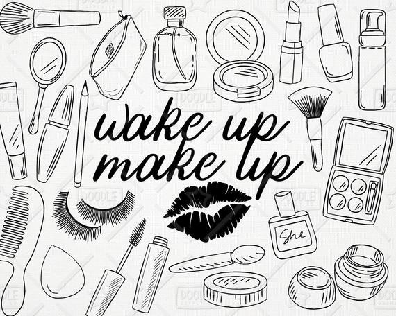 Doodle makeup pack cosmetics. Beauty clipart vector