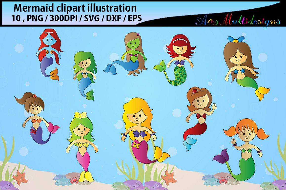 Mermaid clip art water. Beauty clipart vector