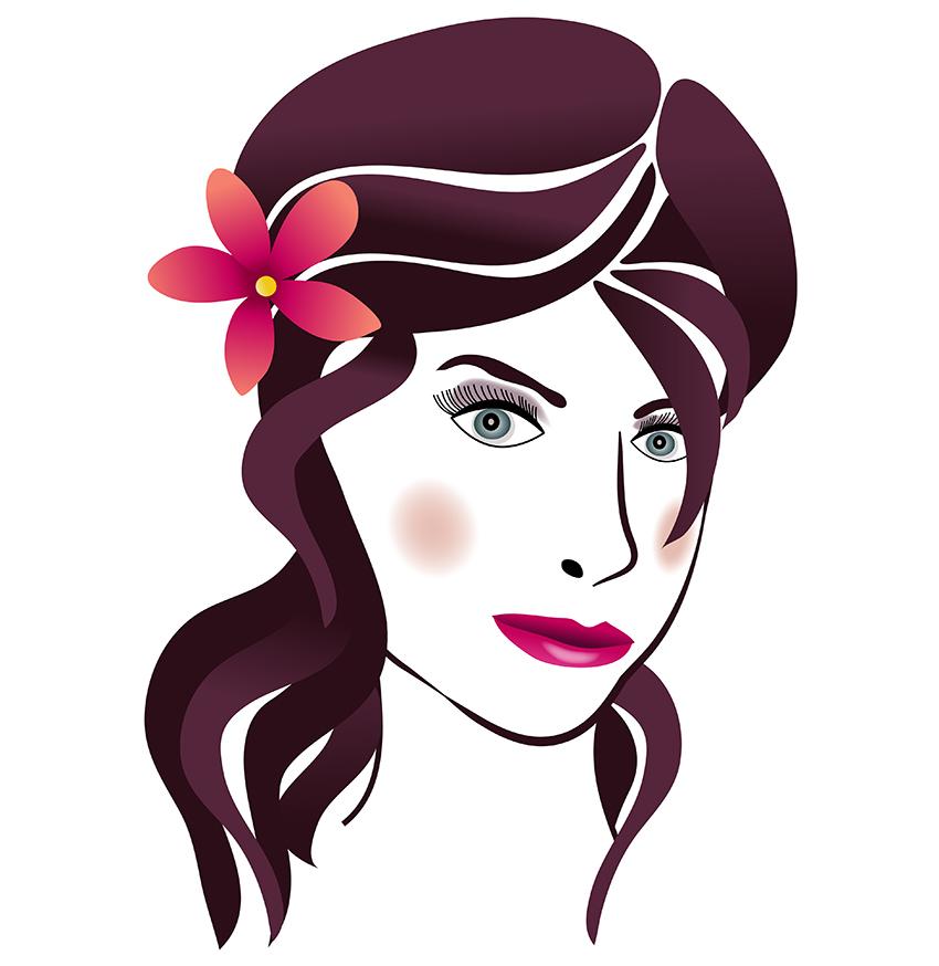 Beauty clipart vector. Woman s face hair