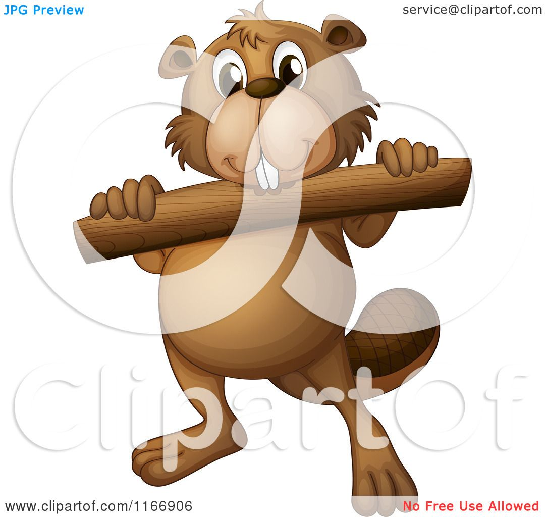 Log pencil and in. Beaver clipart animated