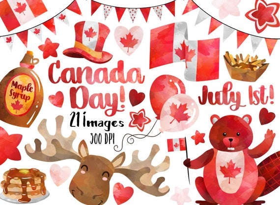 Watercolor day cute first. Beaver clipart canada july