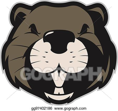Beaver clipart head. Vector illustration mascot eps