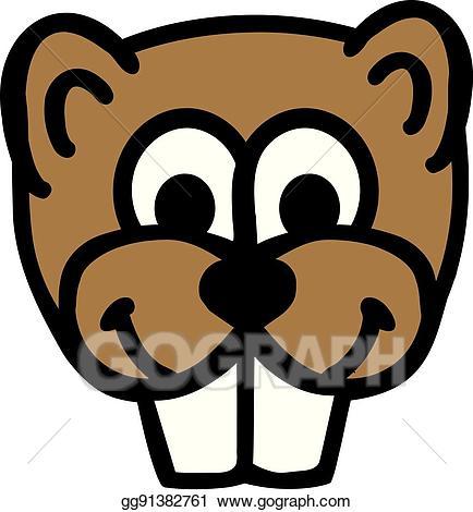 Eps illustration comic vector. Beaver clipart head