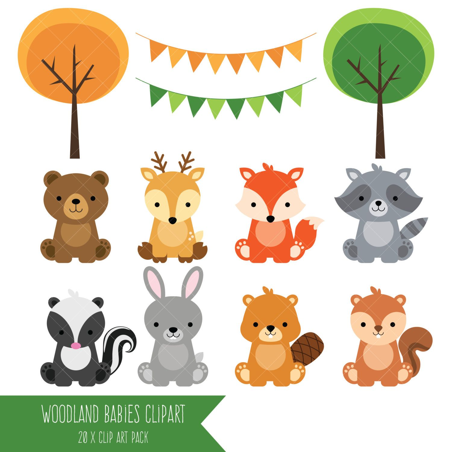 Woodland clipart standing. Baby animals forest animal