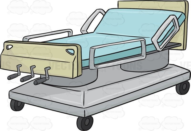 Hospital with the head. Bed clipart animated