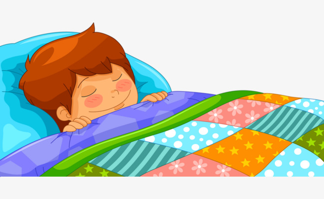 Sleeping child cartoon quilt. Bed clipart animated