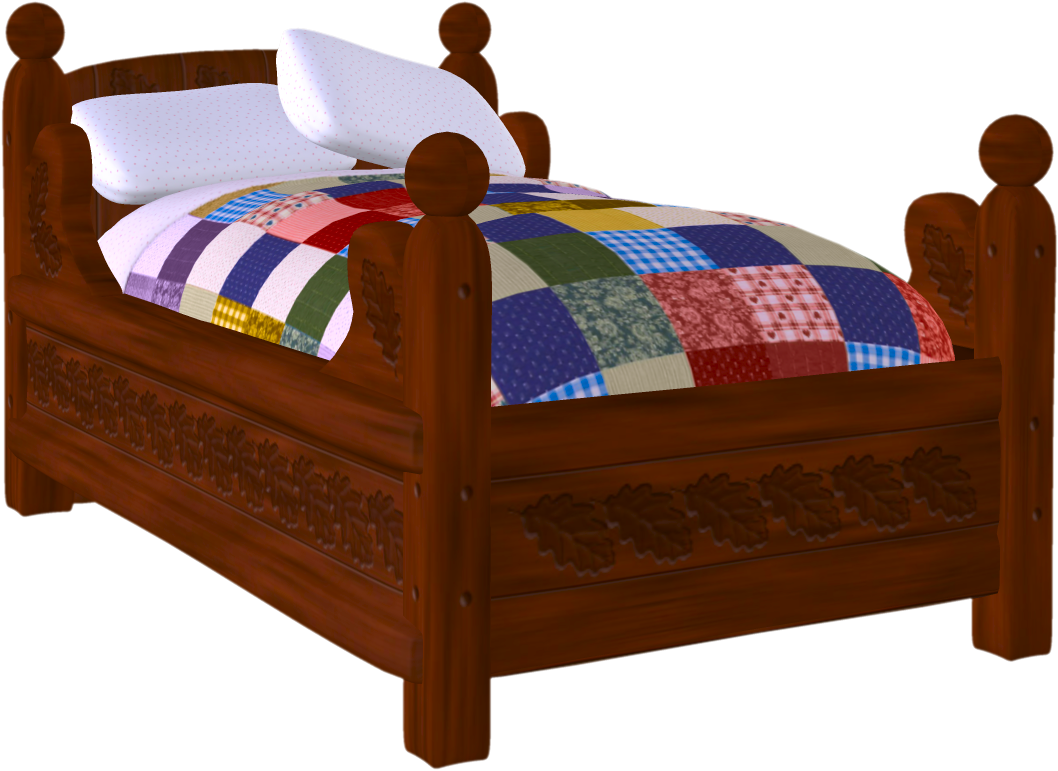 Cover sheet pillow cushion. Furniture clipart twin bed