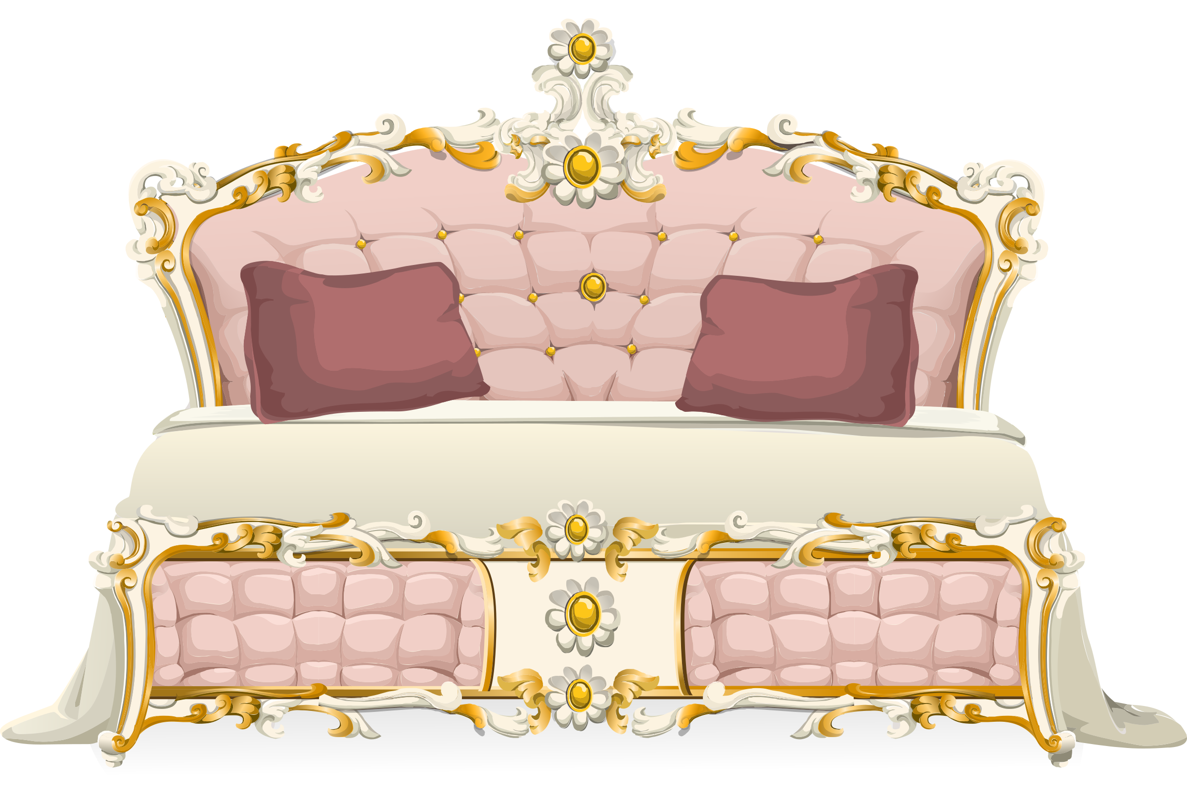 Furniture clipart pink lamp. Baroque bed from glitch