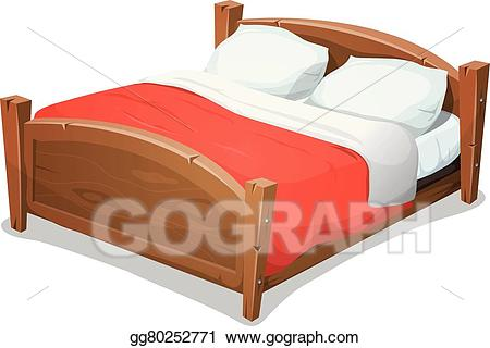 Vector art wood double. Furniture clipart big bed