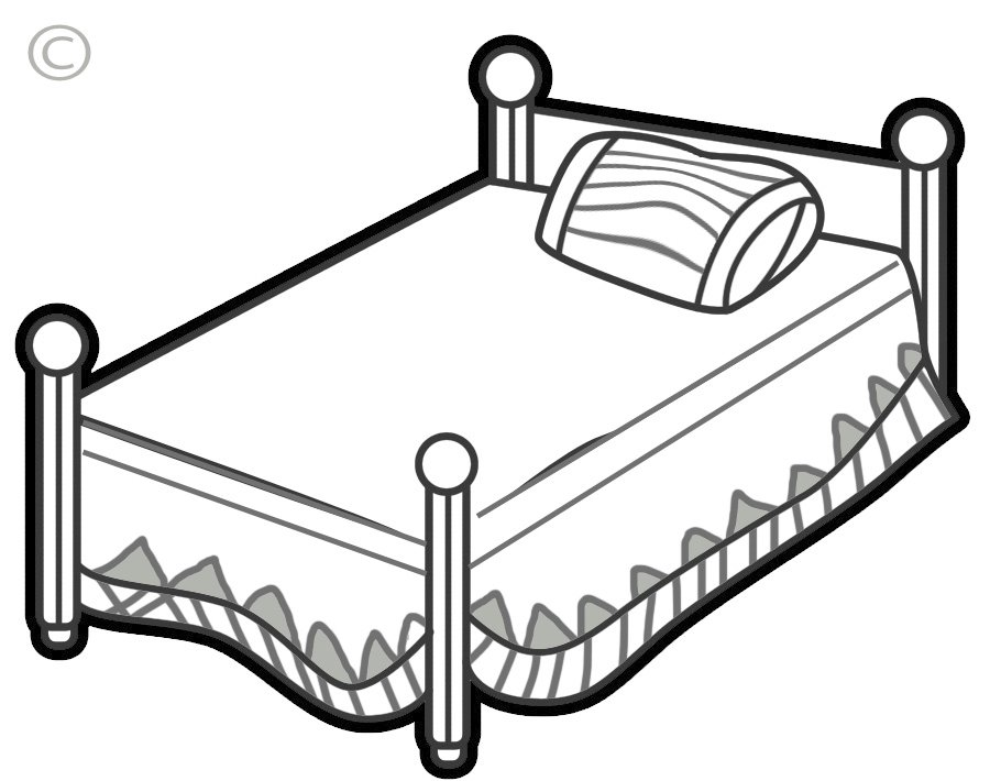 Home design. Bed clipart black and white