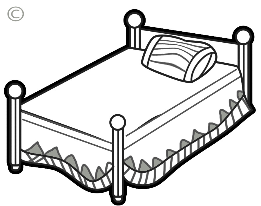 Free white bed cliparts. Bedroom clipart outline