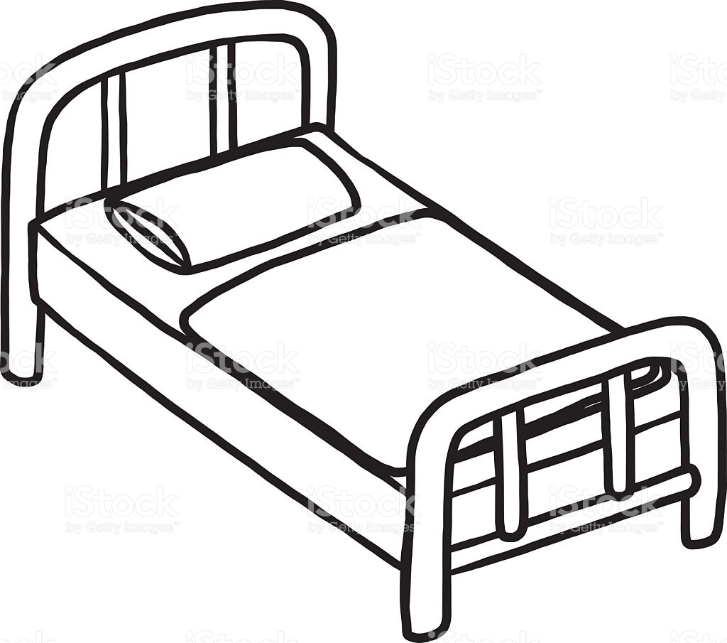 Hospital letters pencil in. Bed clipart black and white