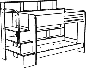 Bed clipart bunk bed. Hampton white with panda