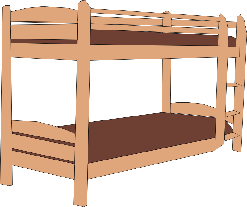 Wood table frame furniture. Bed clipart bunk bed
