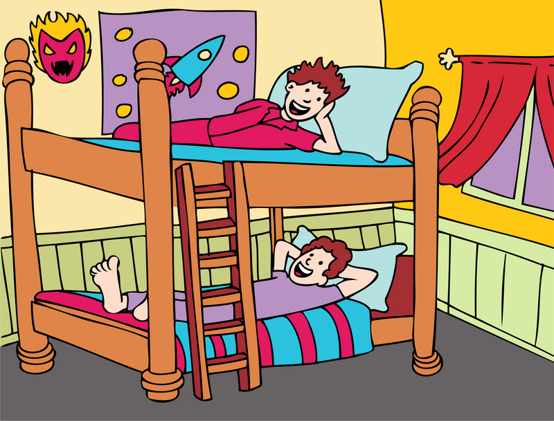 Bedroom bunk pencil and. Bed clipart child bed