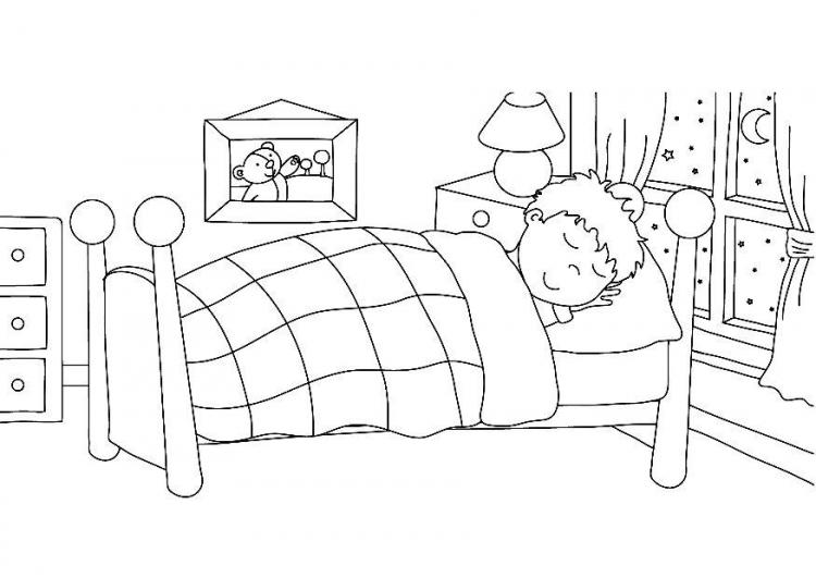 Clipart bed coloring. Download go to for