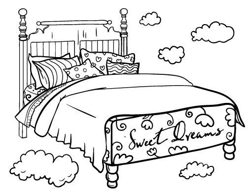 Image of a brenogarra. Bed clipart coloring