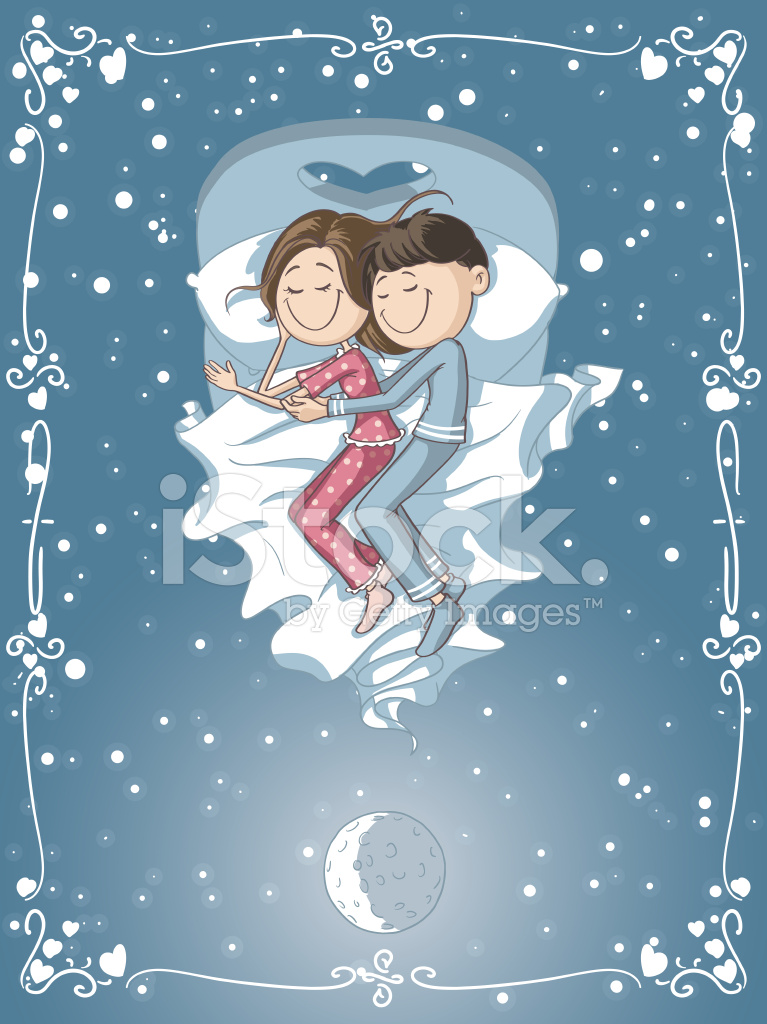 Bed clipart couple. Cute cartoon cuddles in
