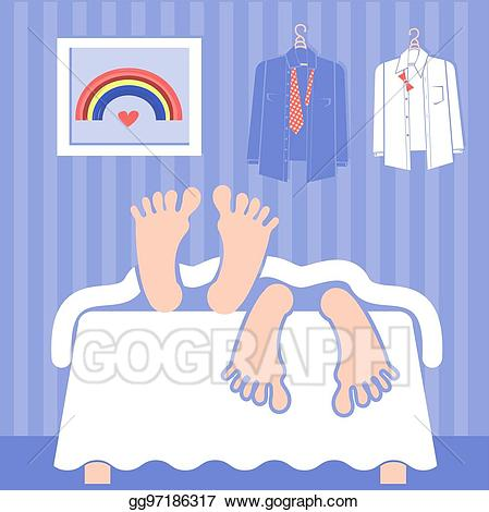 Bed clipart couple. Vector gay sleeping in