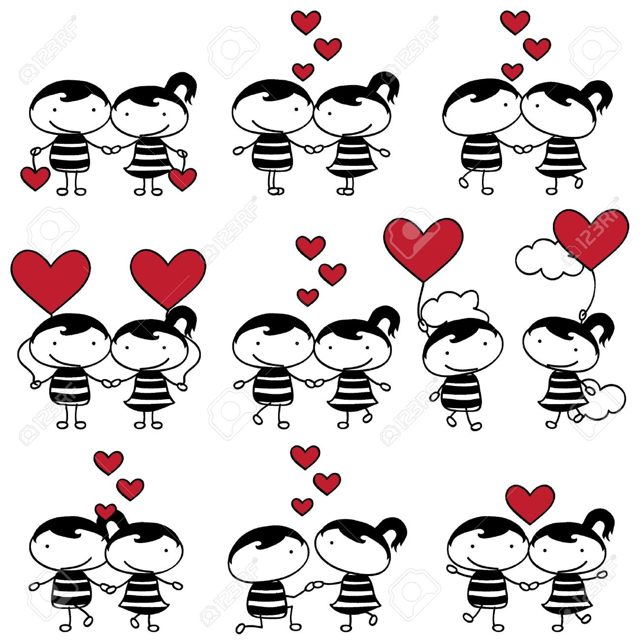 Couples love collection cute. Bed clipart couple