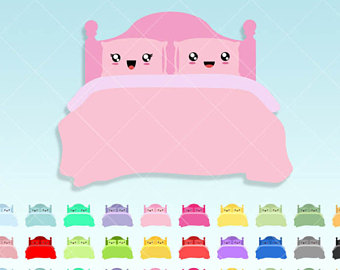 Bed clipart cute. Kawaii sticky notes reminders