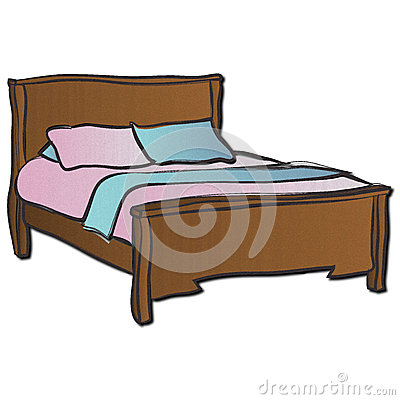 Bed clipart double bed. Wooden clipground royalty free