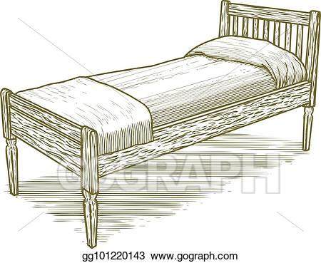 Bed clipart drawing. Vector art woodcut vintage