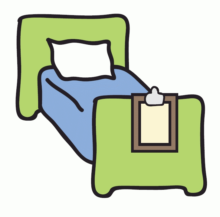 Amazing of empty hospital. Bed clipart green bed