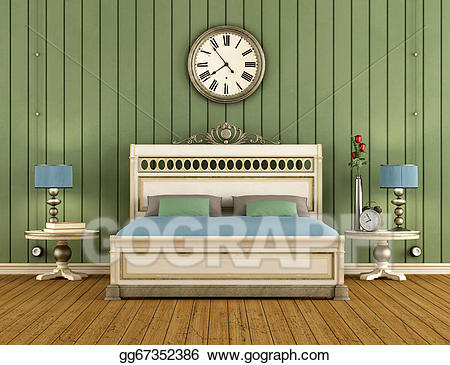 Bed clipart green bed. Drawing vintage bedroom with