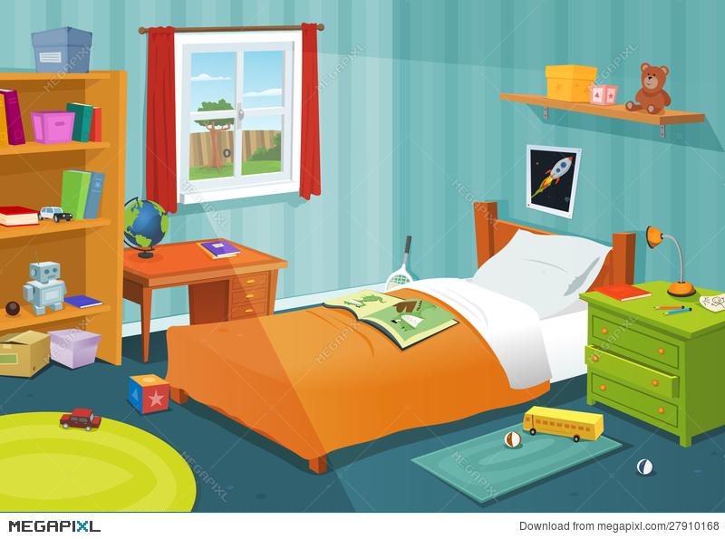 Some kid bedroom illustration. Bed clipart green bed