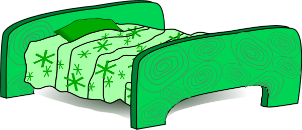 Pencil and in color. Clipart bed green bed