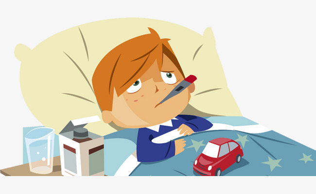 Bed clipart illustration. Cartoon baby fever sick