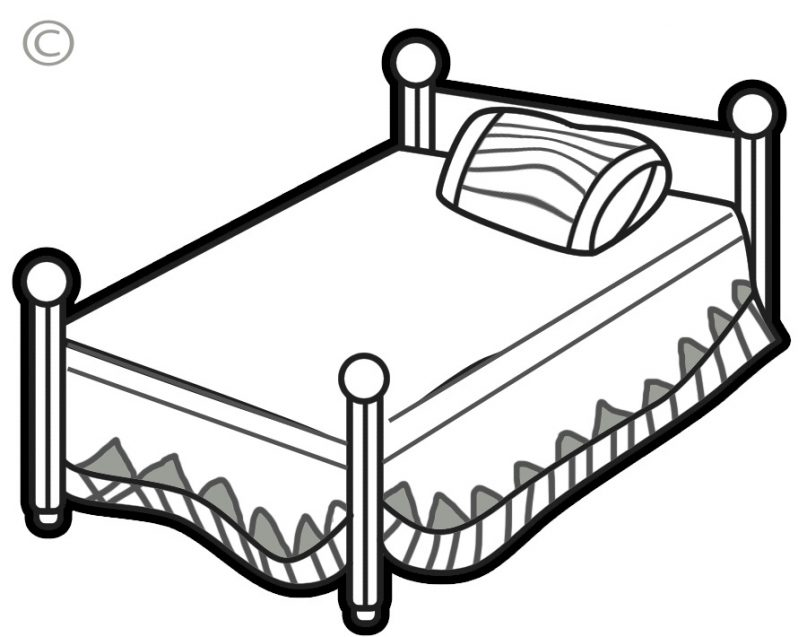 Bed clipart line art. Black and white bedding