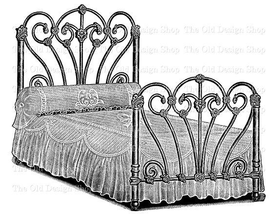 bed clipart old fashioned