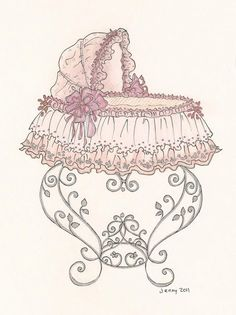 Bed clipart old fashioned. Sweet bassinet illustration baby