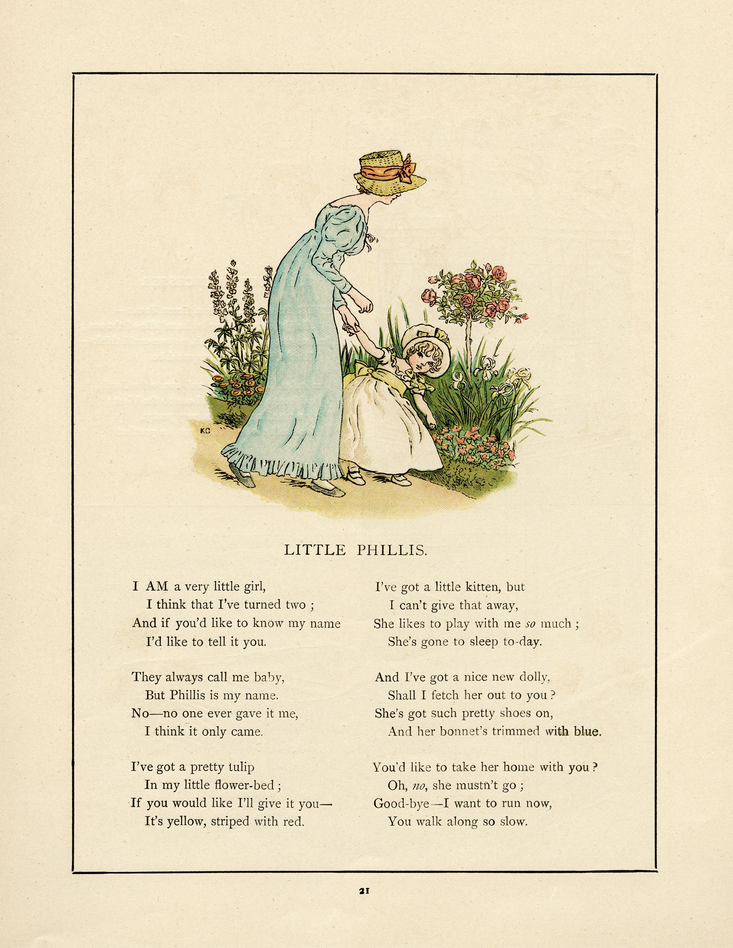 Kate greenaway little phillis. Bed clipart old fashioned